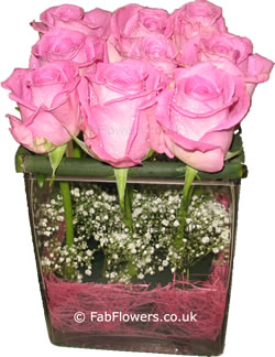 Pink Roses in a Square Vase - Fab Flowers